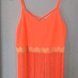 Lush Neon Orange/Pink Fringe Top Size S